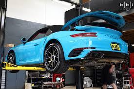 miami blue porsche miami blue porsche 991 2 turbo s cab bbi exhaust install