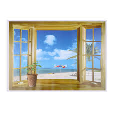 home decor 3d stickers new 3d window scenery beautiful sea beach view wall sticker fake