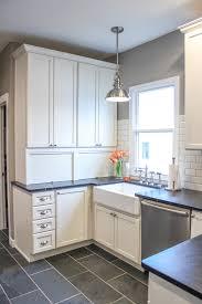 ge slate appliances kitchen farmhouse with arcadia panel bin pulls