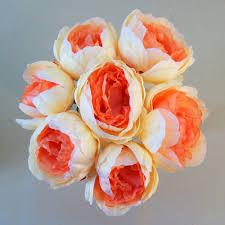 Artificial Peonies Peony Posy Coral Peach P161 J2
