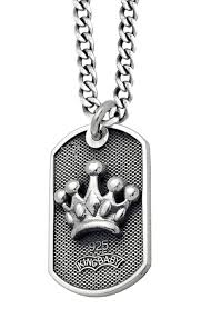 baby dog tags king baby studio men s small crown dog tag pendant necklace