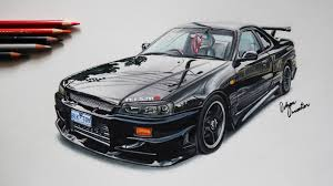 nissan skyline drawing nissan gtr skyline r34 black front realistic car drawing youtube