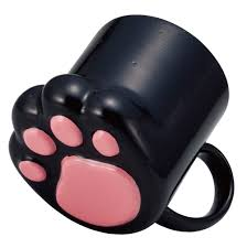 undeniably cute black paw shaped coffee mug