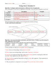 ecology worksheets name date period ecology review worksheet 1