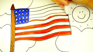 how to draw the american flag patriotic coloring page for kids