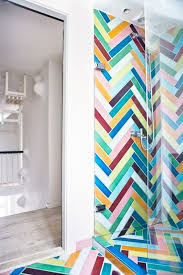 chevron bathroom ideas 5 colourful shower enclosure ideas