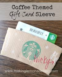 gift card sleeve coffee themed gift card holder lemonade