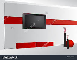 cuisine home interior lcd tv on wall stock vector shutterstock