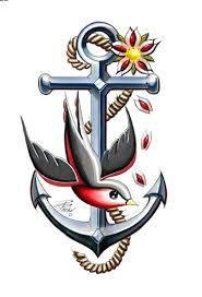 new colorful swallow and cross anchor tattoo design