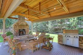traditional porch with outdoor fireplace u0026 outdoor kitchen in