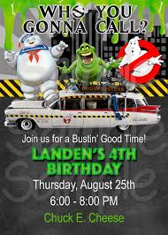 chuck e cheese birthday invitations copy of ghostbuster birthday invitation thelovelymemories