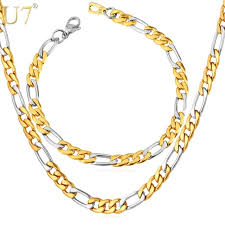 tone gold necklace images U7 two tone gold color jewelry set stainless steel figaro chain jpg