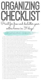 organizing checklist declutter your home in 31 days declutter