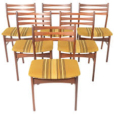 set of six danish modern findahls ladderback dining chairs in teak