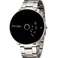 bracelet homme montre images Montre homme originale cadran rond noir et bracelet inoxydable jpg