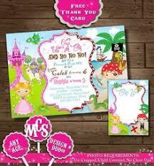 princess and pirate birthday invitation 15 00 via etsy