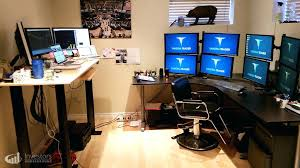 3 Monitor Computer Desk 3 Monitor Computer Desk Size Of Desk Mount For 3 Monitors
