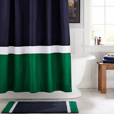 Navy And Green Curtains Color Block Shower Curtain Navy Green Pbteen