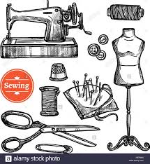 hand drawn sketch sewing set hand drawn sketch sewing set with