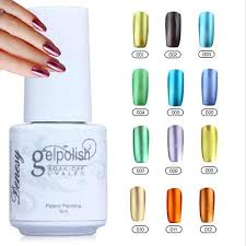 gelish nail polish uv gel metallic mirror effect soak off nail