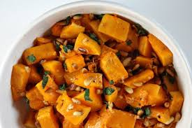 roasted butternut squash with and pine nuts avey