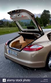 porsche panamera hatchback porsche panamera turbo rear luggage boot and hatchback stock photo