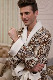 robe de chambre leopard deux ailes imprimé léopard polaire peignoir robe hommes pyjama robe