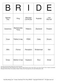 wedding words for bingo bridal shower bingo cards to print and customize