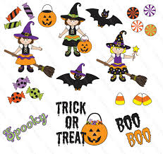 Halloween Clip Art Digital Paper Cute Witches Bats And Candy
