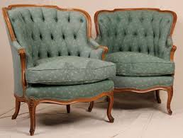 Winged Armchairs For Sale Pair Of French Louis Xv Antique Tufted Barrel Or Wing Back Bergere