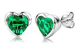 emerald earrings uk byjoy 925 heart shaped emerald stud earrings co uk jewellery