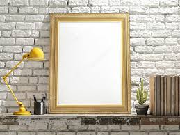 Picture Frame On Wall by Mock Up Golden Frame On Wooden Table Brick Wall U2014 Stock Photo
