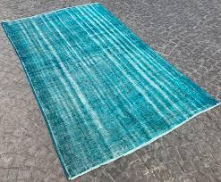 Vintage Overdyed Turkish Rugs Blue Oushak Rug Vintage Overdyed Carpet Traditional Distressed