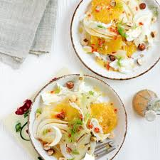 orange fennel and hazelnut salad woman and home
