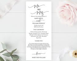 custom wedding programs wedding programs etsy