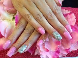 acrylic nails with silver gelish glitter black swarofski crystals
