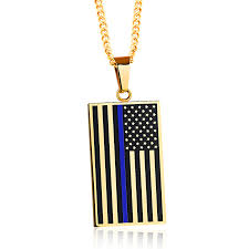 blue stainless steel necklace images 18k gold plated thin blue line pendant usa flag stainless steel jpg