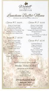 Buffet Menu For Wedding by Luncheon Buffet Menu Wyckoff Country Club