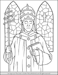 saint pope leo coloring catholic kid