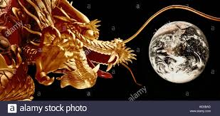 dragon collage of chinese dragon on floating boat in hongkong