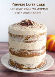 pumpkin layer cake with brown sugar and cinnamon cheese