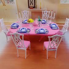 doll house miniatures dollhouse dinner table tableware chair