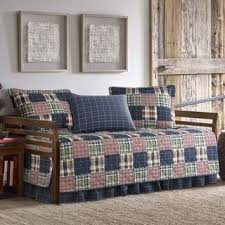 Daybed Cover Sets Eddie Bauer Camano Island Red Khaki Patchwork Plaid 5 Piece