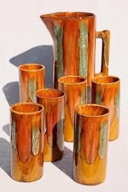 vintage drip glaze l vintage dryden drip glaze pottery tall pitcher drinking glasses