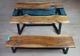 live edge river dining table with bench u2013 fine wooden creations