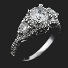 stone vintage rings images Aurora vintage three stone engagement ring miadonna jpg