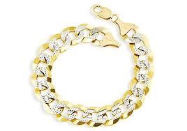 white gold yellow gold bracelet images Mens 14k white yellow gold cuban curb chain bracelet men 39 s jpg