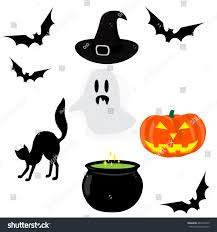 halloween icons set ghost bat cat stock vector 487443670