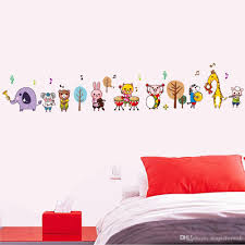 Nursery Tree Stickers For Walls Cartoon Animals Music Band Wall Stickers For Kids Boys Girls Room