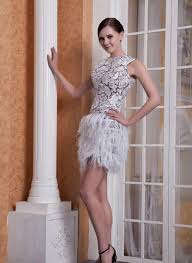 com buy grey lace feather backless short girls prom dresses